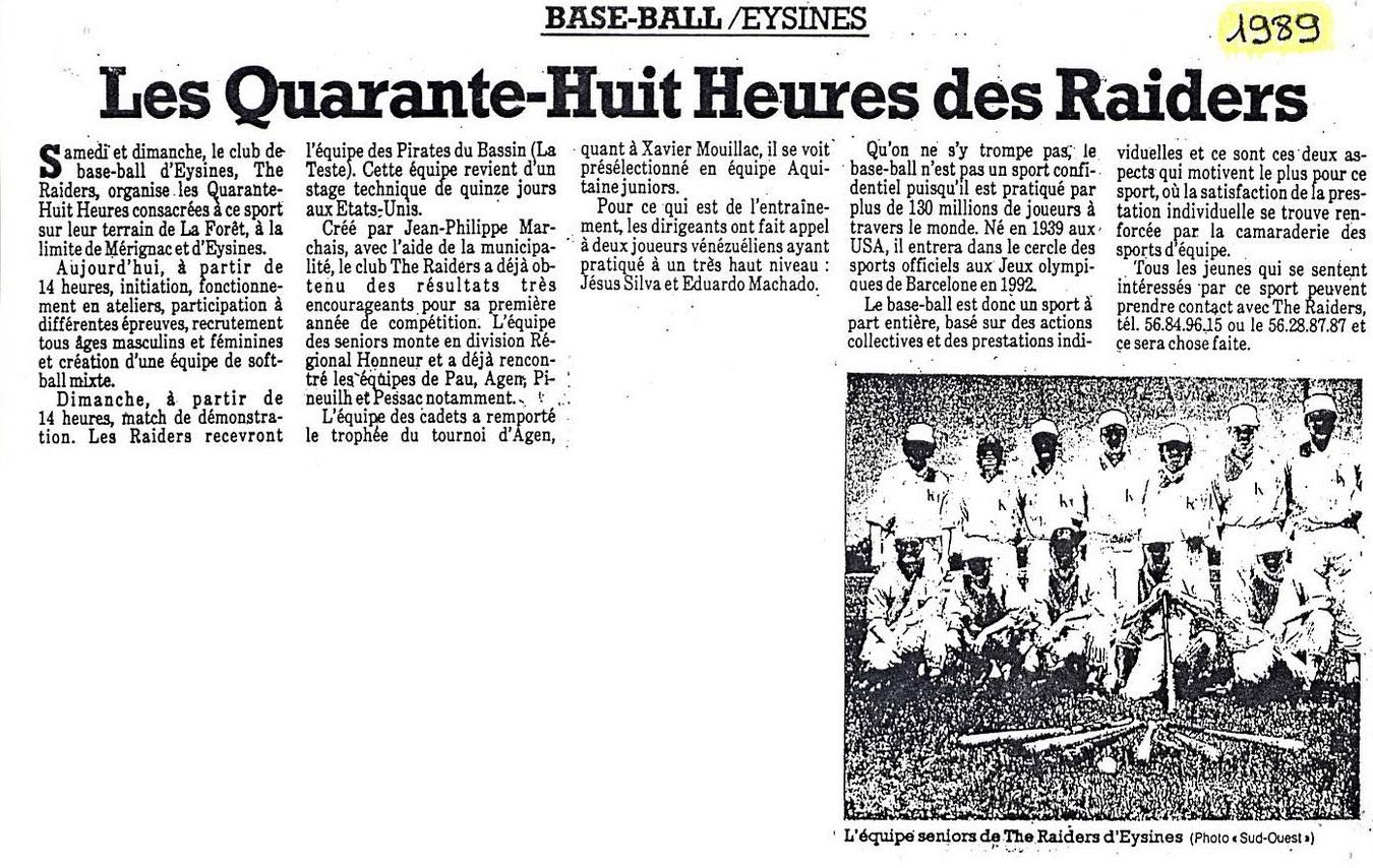 Les 48h des Raiders - Sud-Ouest 1989