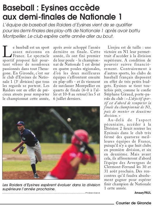 Article Courrier Gironde 07-14
