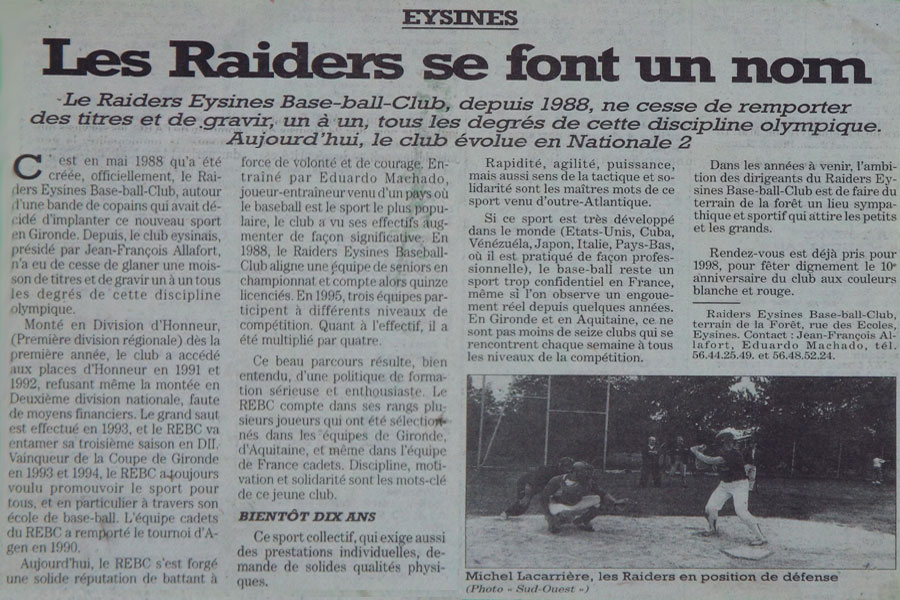 sud ouest 1997 eysines raiders. Black Bedroom Furniture Sets. Home Design Ideas