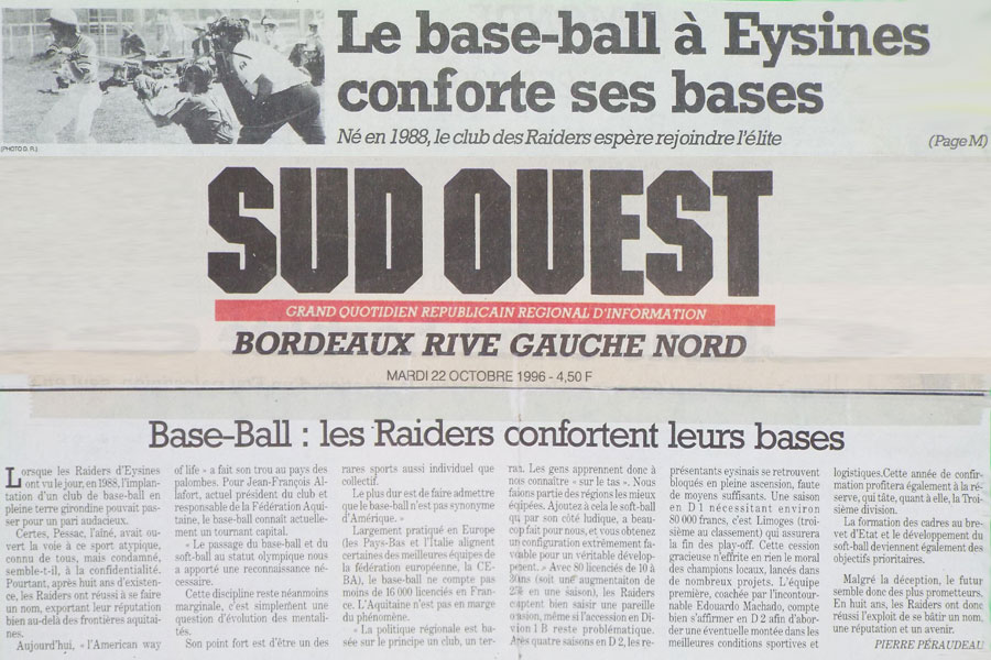 sud ouest 1996 eysines raiders. Black Bedroom Furniture Sets. Home Design Ideas